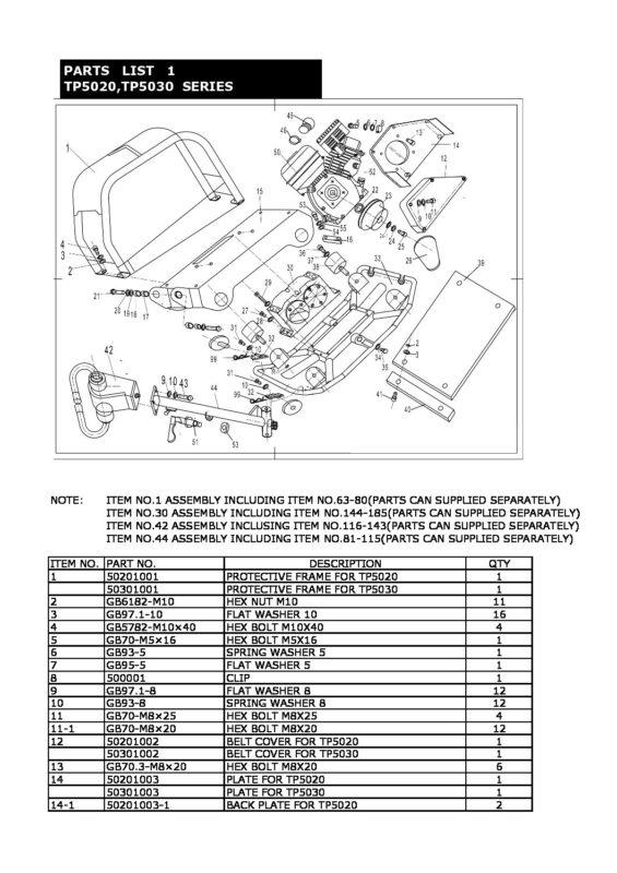 Manual - TP5020 TP5030 Drawing