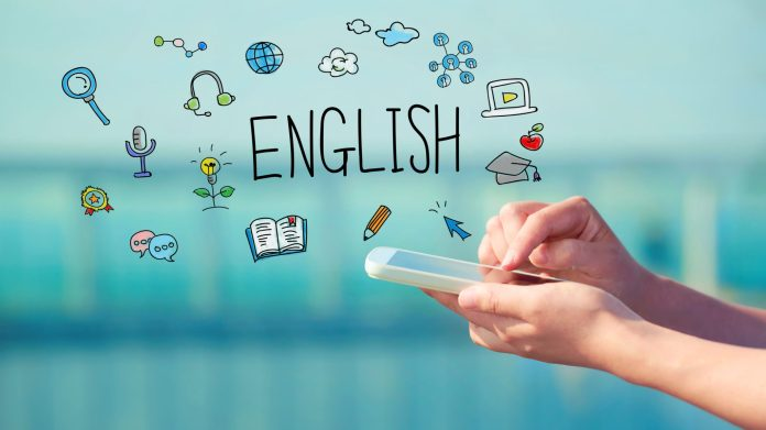 English concept with smartphone