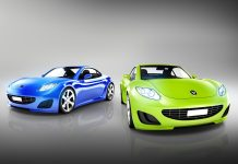 Two Elegant Multicolored Modern Cars