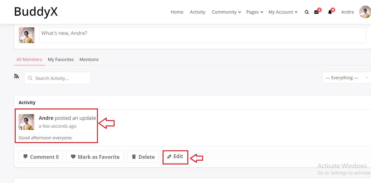 BuddyPress Activity Edit Front-End