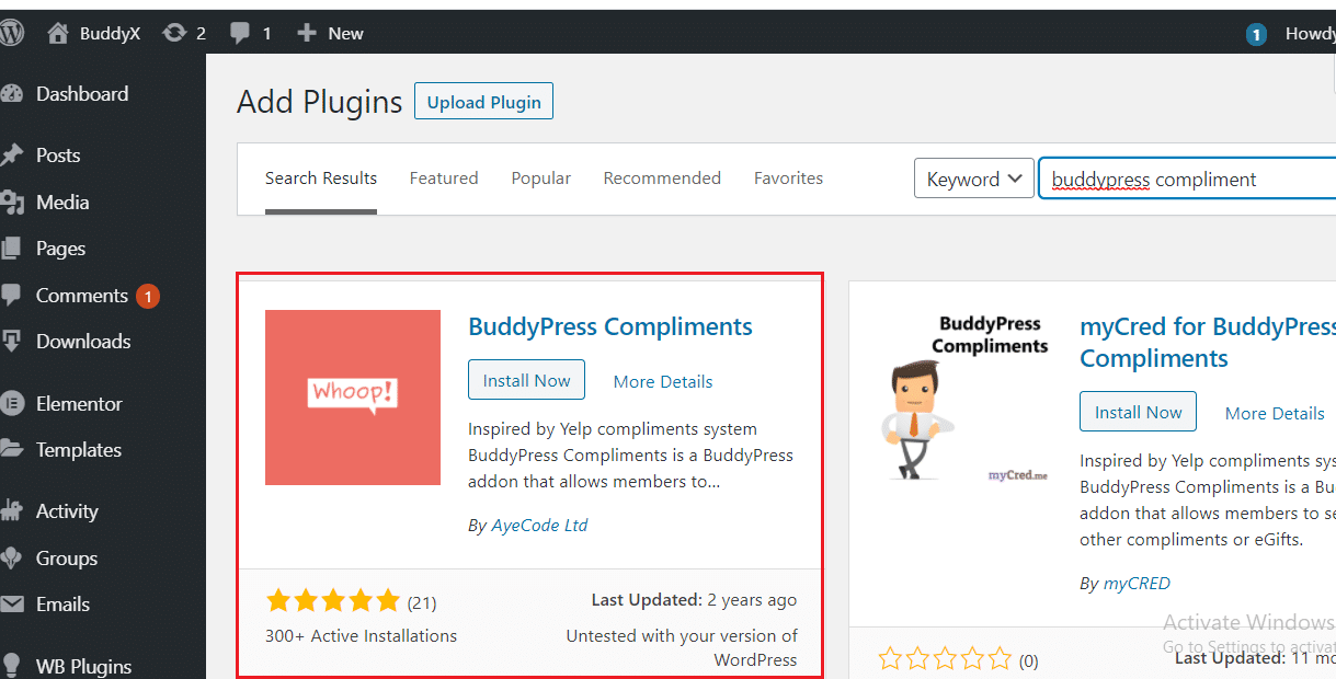 BuddyPress Compliment Plugin Installtion