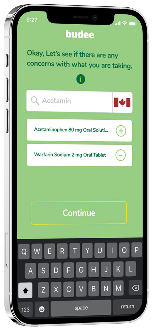 a mobile phone showing budee's pharmaceutical check