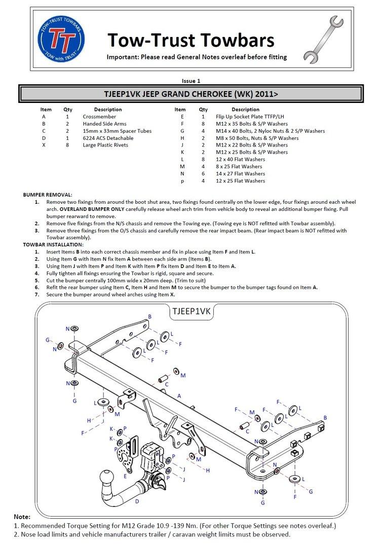Jeep Grand Cherokee Detachable Towbar (WK) 2011 On Inc