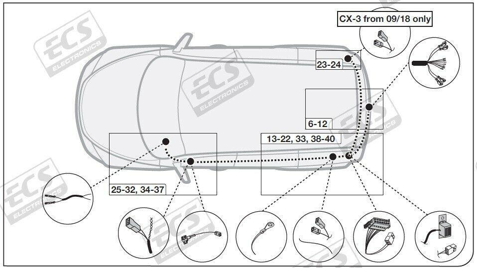 Mazda CX-3 Tow Bar Wiring Jun 15 > 2020 13Pin DEDICATED