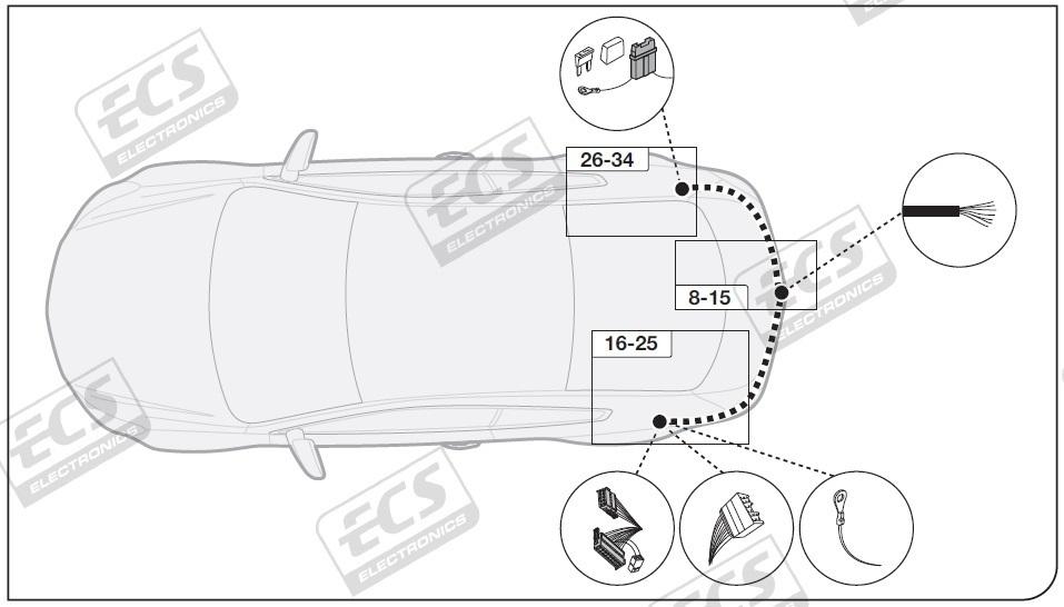 Kia Niro Hybrid 2017 to 2020 7 pin DEDICATED Towing Electrics