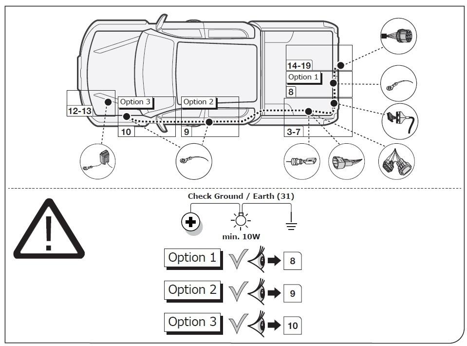 Nissan Navara 2016 > 2019 7Pin DEDICATED Tow Bar Wiring