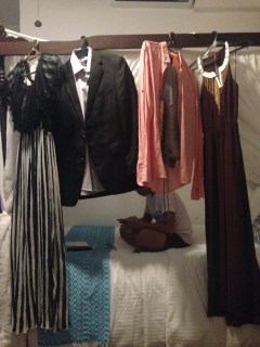 Our DIY clothes hanging on the bed room