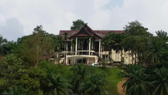 THE RESORT'S MAIN BUILDING VIEWED FROM THE LAKE