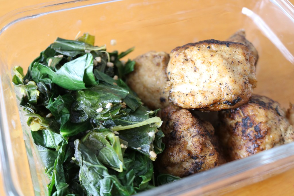 Fried Chicken Meatballs and Collard Greens