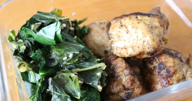 TTC: Fried Chicken Meatballs with Collard Greens