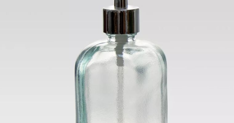 Reused and Recycled. Our Recycled Glass Soap Container