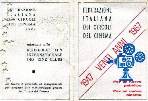 La tessera assegnata ai soci del circolo del cinema di Budrio (Prop. Ferruccio Melloni)