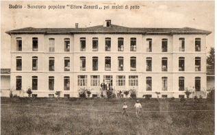 Il Sanatorio di Vigorso per malati di petto: costruito tra il 1904 e il 1906 e voluto da Ettore Zanardi: oggi questo edificio è il cuore del Centro Protesi INAIL di Vigorso (Archivio Montanari-Pazzaglia).