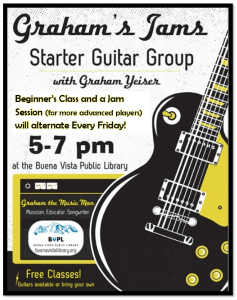 Graham's Jams, learn guitar for free Starter Guitar Group @ Buena Vista Public Library | Buena Vista | Colorado | United States