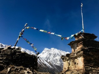 Prayer flags near Ngawal