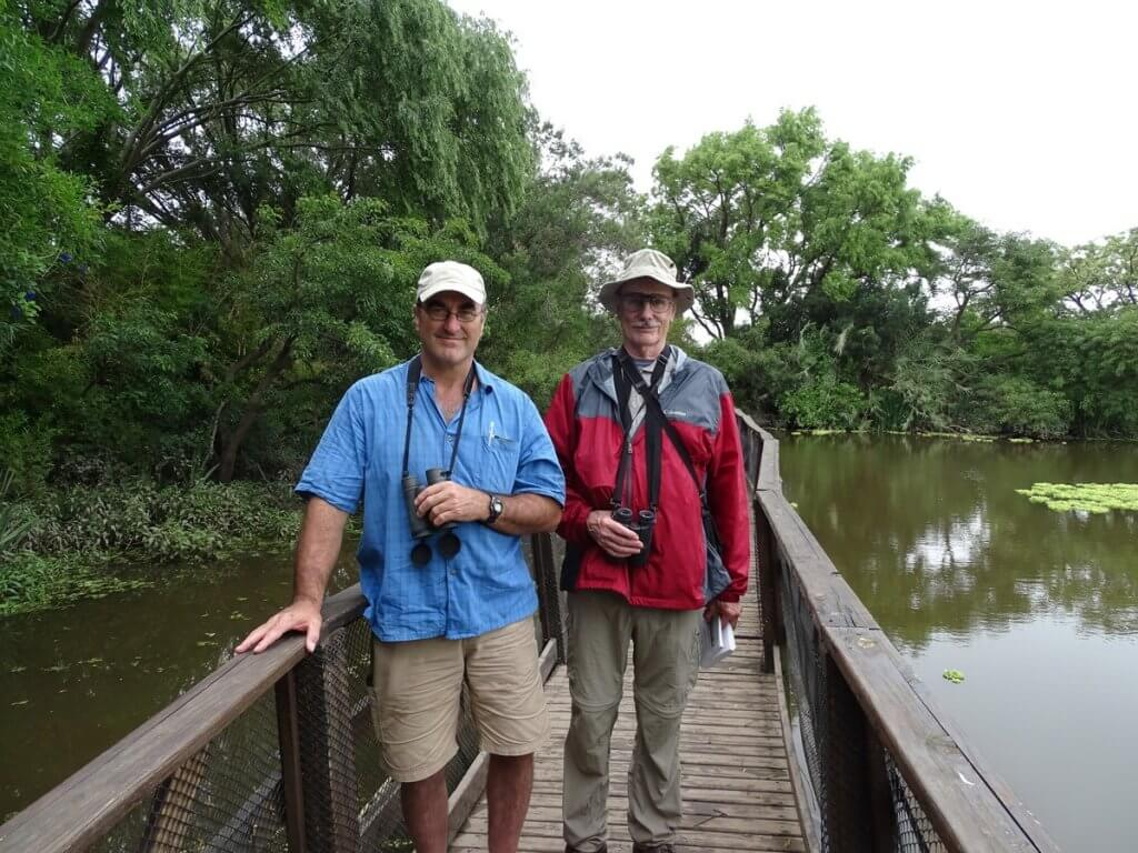 Ned and Bob birding at Vicente López Reserve, November 2018.
