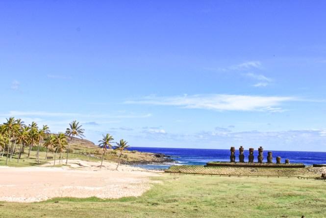 vue Anakena visiter l'île de pâques