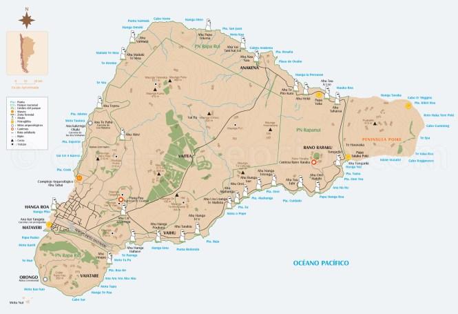 carte pour visiter île de pâques chili