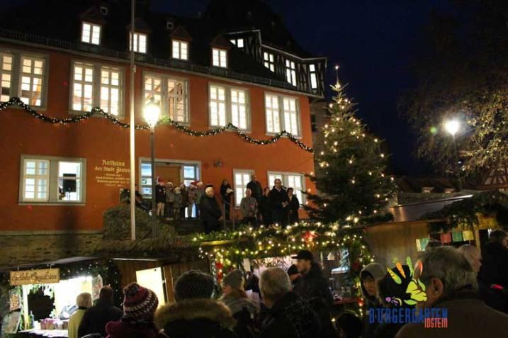 Der Bürgergartenstand hatte die perfekte Aussicht auf Rathaustreppe und Eröffnungsworte.
