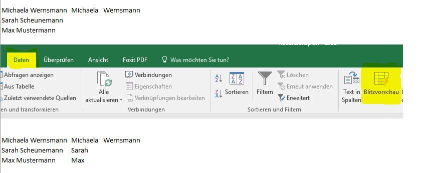 Tipp der Woche: Excel – Werte aus Zellen trennen (Blitzvorschau)