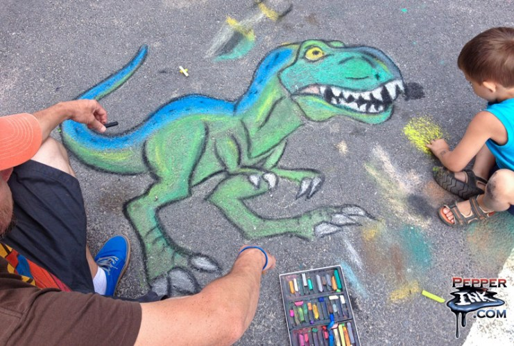 Community Chalk Walk Dinosaur Theme