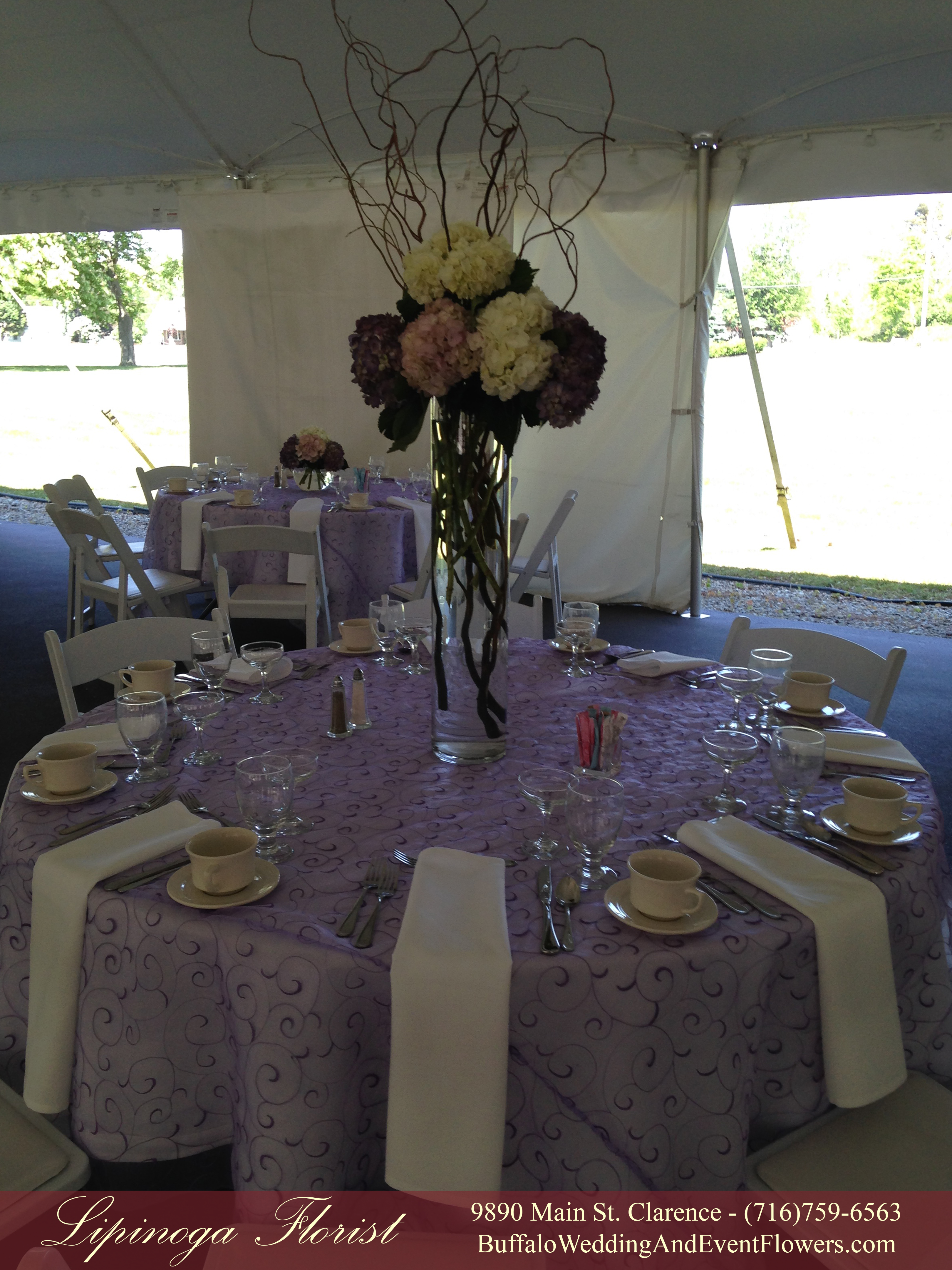 cylinder centerpieces  Buffalo Wedding  Event Flowers by Lipinoga Florist