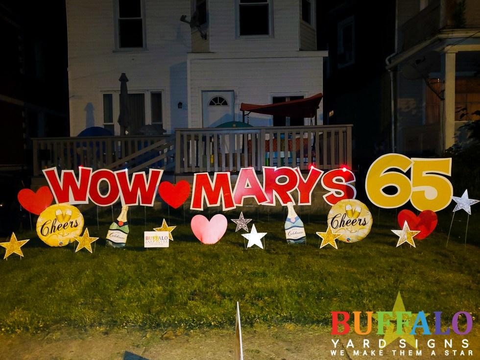 Custom birthday yard sign for 65th birthday