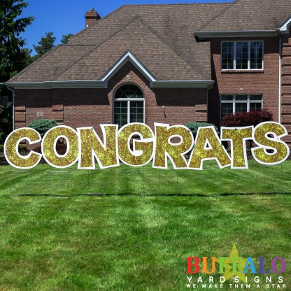 Gold Congrats Yard Sign