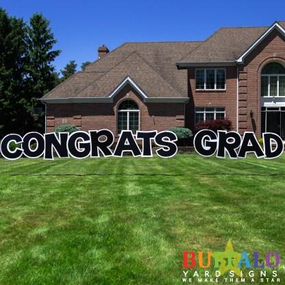 Black Congrats Grad Yard Sign