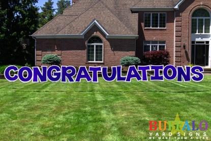Blue congratulations yard sign