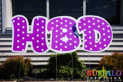 Purple polka dot yard sign letters for birthday yard sign