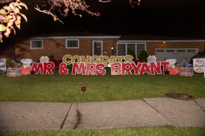 Congrats yard sign for newlyweds