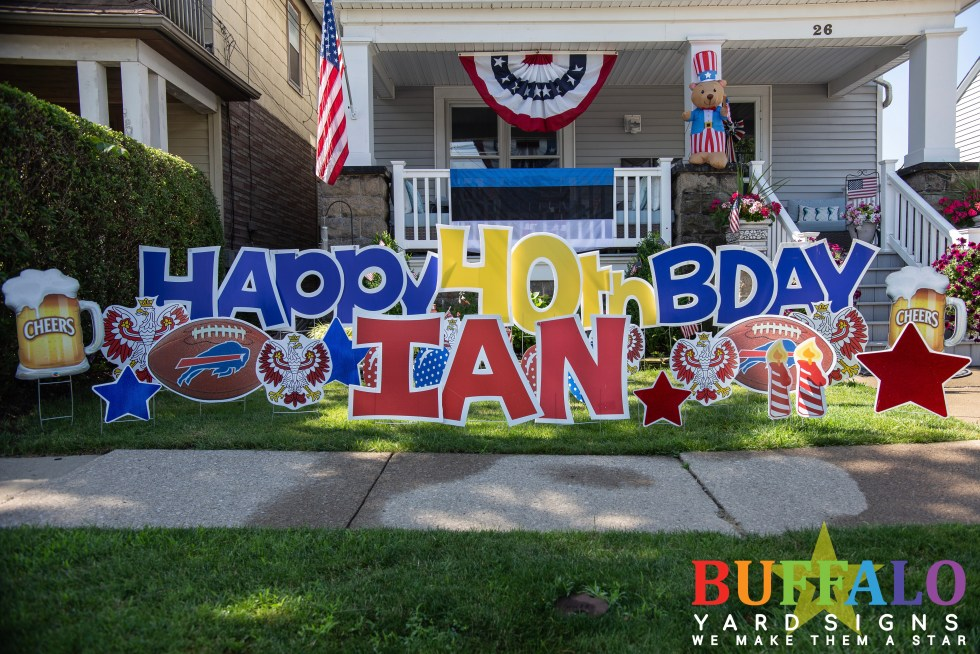 Happy Birthday yard sign with Buffalo Bills, beer mugs, and polish falcons.