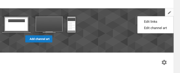 """""""Edit links"""" will appear when you hover over the edit icon in your YouTube channel art."""