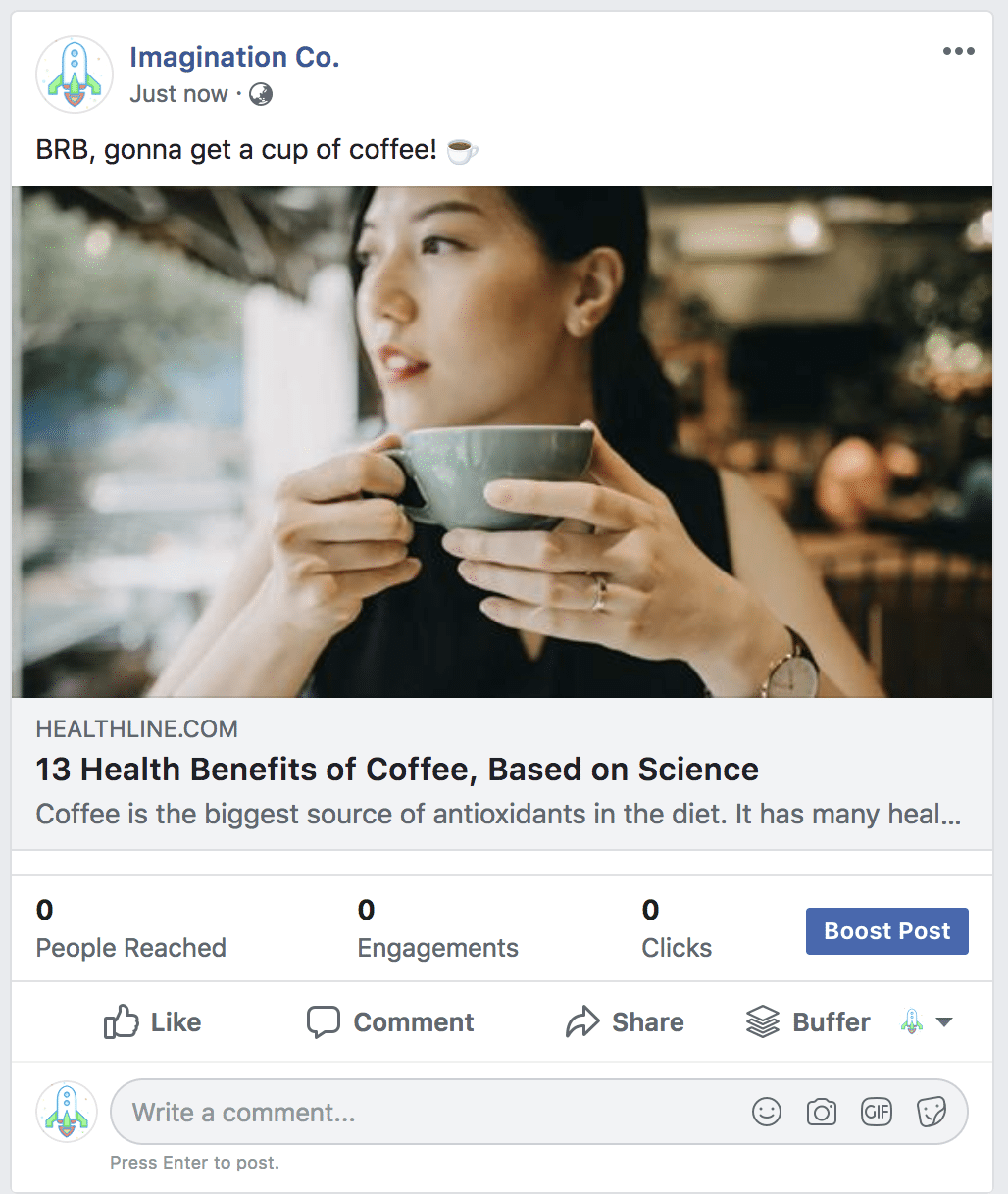 Facebook post example