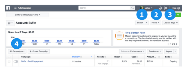Facebook ads manager ads filters