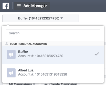 Switching Facebook ad accounts