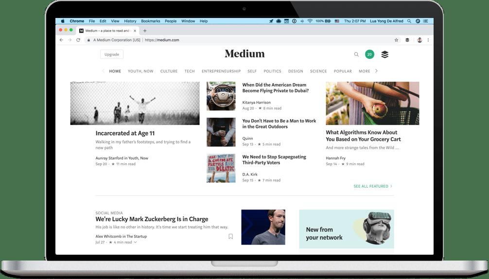 Medium homepage screenshot