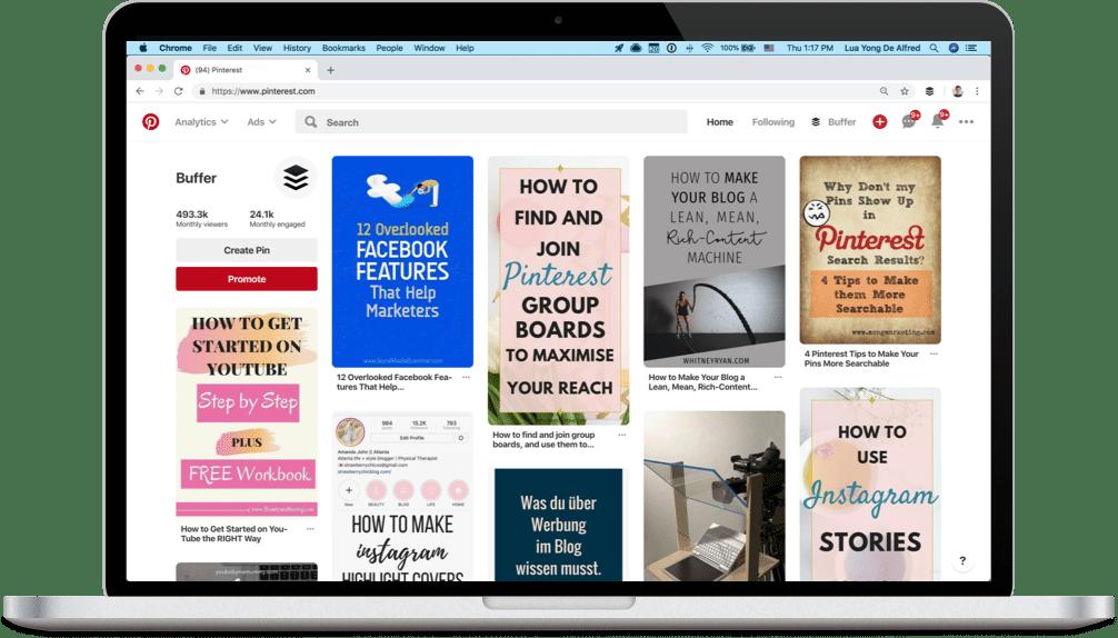Pinterest feed screenshot