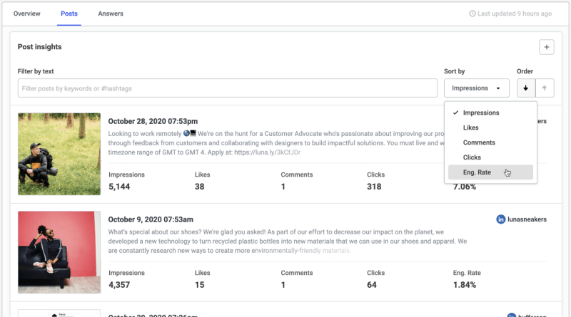 Sorting posts in Buffer analytics