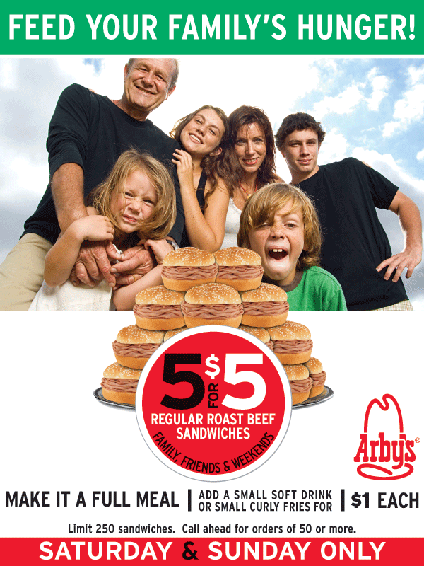 Arby's 5-for-5 deal, limit 250