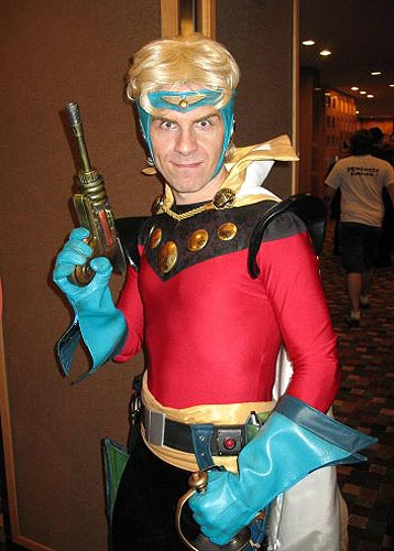 guy in Flash Gordon costume