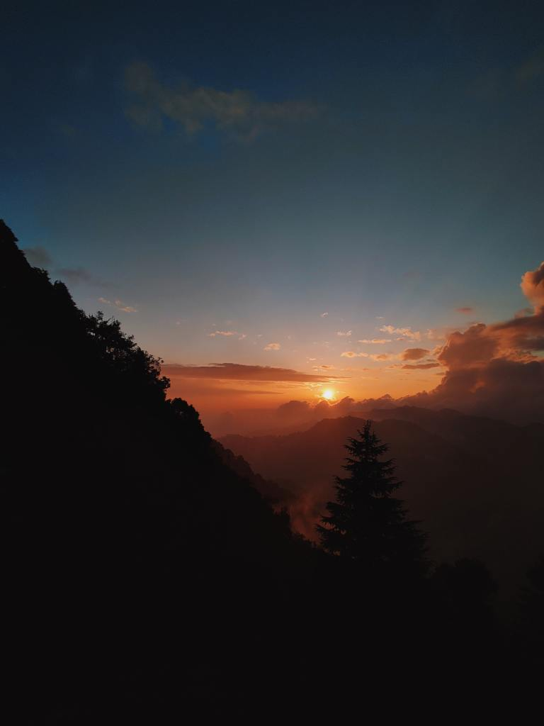 sunset and mountains