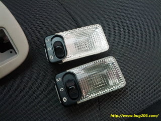 Comparison of the original light (top) and the replacement (below)