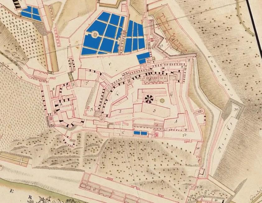 Markierte Gartenanlagen: Wetzel Plan (1753).