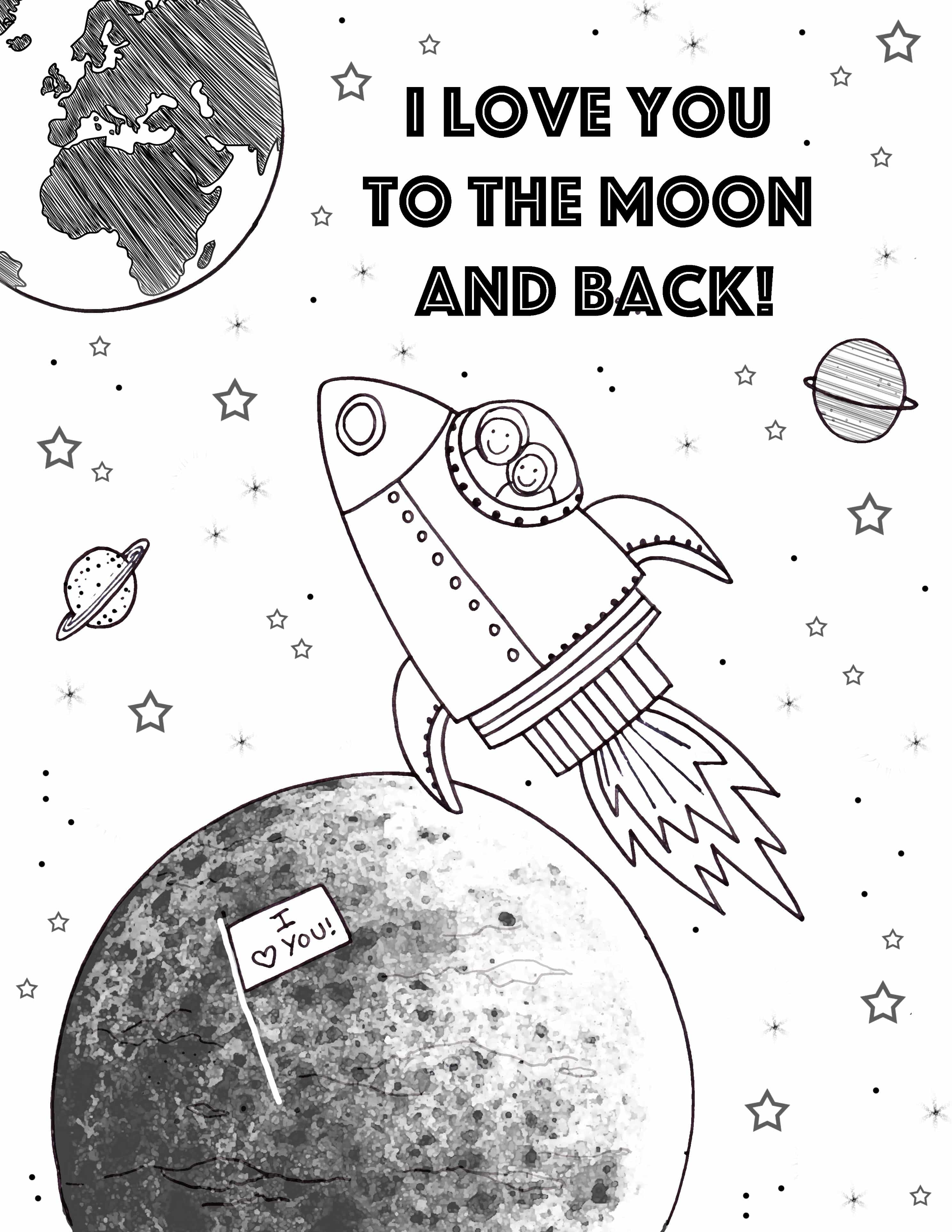 Love You To The Moon And Back Coloring Pages Sketch