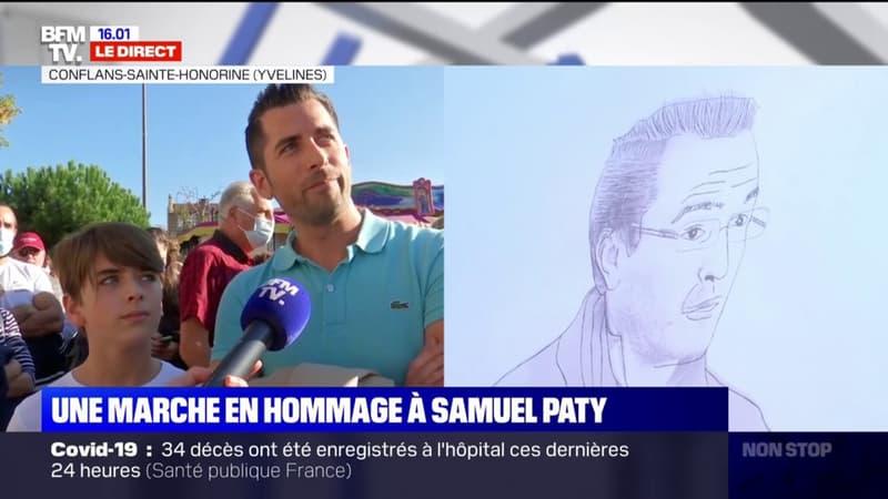 Des élèves du collège de Conflans-Sainte-Honorine venus pour rendre hommage à Samuel Paty