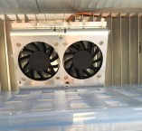 Twin Fans inside. Purchased off Ebay and clipped to the evaporator fins.