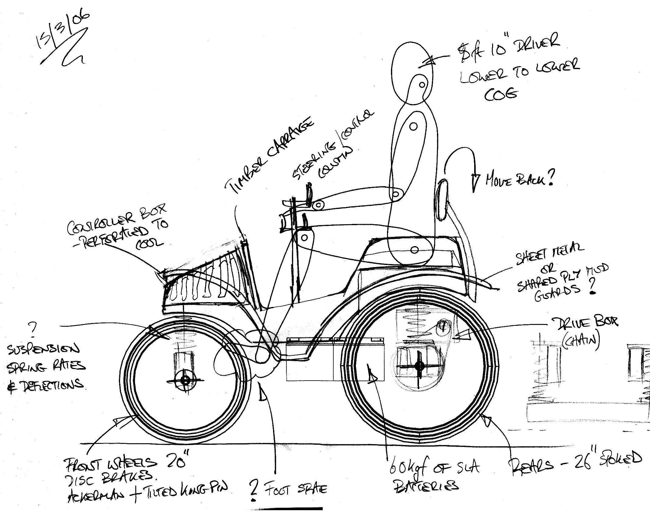 Plans for 3/4 scale electric veteran style voiturette.