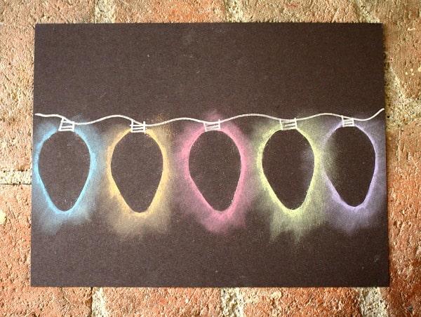 Christmas Light Chalk Stencil Art for Kids
